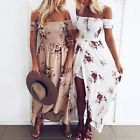 Women Fashion Off Shoulder Maxi Dress Ladie Long Sundress for Summer Beach Party