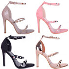 Womens faux suede three straps studs high heel party Ladies shoe size