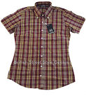 Relco Short Sleeve LADIES Check Shirt LSS5 - Burgundy - 60s Button Down Mod Skin