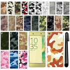 For Sony Xperia XA F3111 F3115 F3116 Camo Design HARD Back Case Cover + Pen