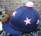 Riding Hat Silk Skull cap Cover NAVY BLUE * BABY PINK STARS * With OR w/o Pompom