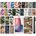 "For Motorola Moto G4/ G4 Plus 5.5"" XT1625 Camo Design HARD Back Case Cover + Pen"