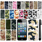For Apple iPhone 5/ 5S/ SE Sprint Camo Design HARD Back Case Phone Cover + Pen
