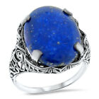 GENUINE LAPIS LAZULI 925 STERLING SILVER ANTIQUE STYLE FILIGREE RING SIZE,  #950