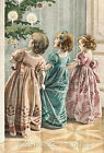 Victorian Christmas Girls Repro Quilt Block Multi Sz FrEE ShiP WoRld WiDE (C31