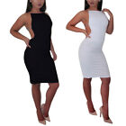 Women Bodycon Deep V-neck Bandage Backless Pencil Dress Clubwear Black&White