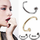 Fake Clip On Sterling Silver Thin Small Nose Ring Hoop- No Piercing Needed!