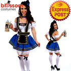 J19 Blue Dirndl Oktoberfest Ladies German Beer Maid Outfit Fancy Dress Costume