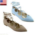 Womens Ladies Gladiator Ballet Flats Bootie Mules Strappy Lace Up Cut Out Shoes