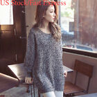 US Women CrewNeck Oversized Sweater Long Sleeve Knitted Casual Winter Pullover