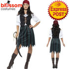 CA280 Ladies Deckhand Pirate Costume Caribbean Buccaneer Fancy Dress Up Outfit