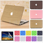 """3in1 Leather Coated Wooden Pattern Matte Case for MacBook Air 11"""" Pro 13"""" 15"""""""