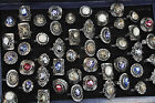 10/20/30/50pcs Wholesale Mixed Stone Tibet Silver Plated Crystal Ring Jewelry Us