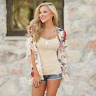New Fashion Women Casual Front Open Patchwork Lace Asymmetrical Hem Chiffon N98B