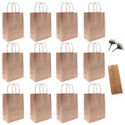 12pcs DIY Kraft Paper Bags Gift Shopping Brown Handle Merchandise Recycled Calla
