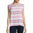 Stylus Short-Sleeve Peasant Top Size S Msrp $36.00 Island White Print
