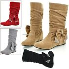 Women Bowknot Faux Suede Wedge Flat Shoes Mid Calf Boots Low Flat Heel B20E01