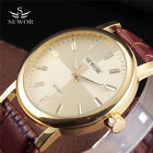 New PU Leather Gift Sports Mens Gold Steel Case Mechanical Wrist Watch Manual