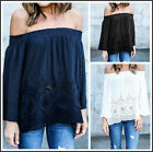 Hottest Women's Summer Cotton Blouse Off Shoulder Loose Casual T -Shirt Tops