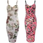 WOMENS FLORAL DRESS WAFFLE TEXTURED PARTY BODYCON LADIES STRAP MINI MIDI HOT TOP
