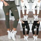 USA Women Denim Skinny Ripped Pants High Waist Stretch Jeans Slim Pencil Trouser