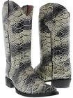 Mens Natural Anaconda Snake Design Leather Cowboy Boots Western Rodeo J Toe
