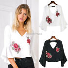 New Women's Deep V Backless Printed Sleeve Embroidery Tops Blouse T-Shirt