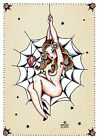 Spider Woman by Susana Alonso Sexy Pin-Up Girl Tattoo Design Canvas Art Print