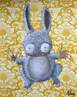 Ronnie by J.K. McGreens Rabid Rabbit Monster Stuffed Bunny Canvas Fine Art Print