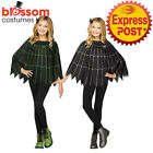 CK957 Silver Green Spiderweb Cape Cloak Witch Poncho Girls Halloween Costume