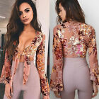 Womens Summer Long Sleeve Blouse Casual Shirt Tube Tops T-Shirt Crop Top V Neck