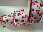 GLITTERY HEARTS red on white Love Valentine 63mm - Luxury Wire Edged Ribbon