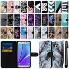 For Samsung Galaxy Note 5 Ultra Slim Canvas Wallet Case Cover Credit Card + Pen