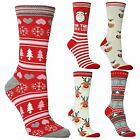 3 Ladies Festive Feet Stocking Filler Xmas Santa Christmas Novelty Socks UK 4-8