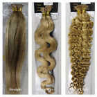 "Hot 18""-32"" Stick I Tip Human Hair Extensions Straight Wavy Curly #27/613 Blonde"
