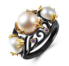 Women's Freshwater Pearl Purple Crystal Antique Vintage Style Black Ring R168
