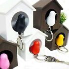 Cute Bird Nest Sparrow House Key Chain Ring Keyring Wall Hook Holders Whistle