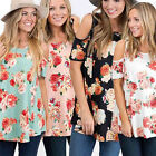 New Women's Summer Floral Short Sleeve Casual Blouse Shirts Ladies Tops T-shirts