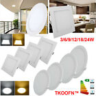1-20x LED Panel Light Circular Round Square Ceiling Downlight 3/6/12/18/24W Lamp