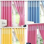 GINGHAM KIDS BEDROOM CURTAINS Thermal Blackout Curtain Eyelet or Pencil Pleat