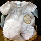 NWT Will'beth White Blue Knit Diamond Jon Romper 3 6 9 months Baby Boys Booties
