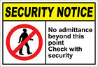 No Admittance Beyond This Point Check Security OSHA / ANSI LABEL DECAL STICKER $10.99 USD