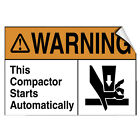 this is not a toy warning label - Warning This Compactor Starts Automatically Hazard LABEL DECAL STICKER
