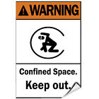 Warning Confined Space. Keep Out. Hazard Sign LABEL DECAL STICKER