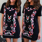New Women Summer Short Sleeve Floral Short Mini Dress Ladies Beach Party Dresses