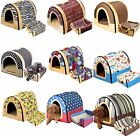 2 in 1 Dog Cat Foldable Warm Cave House Bed with Cozy Mat