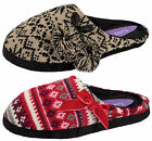 Womens Knitted Mules Fairisle Slippers Warm Winter Slip On Shoes Ladies Size