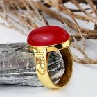 REAL 10K YELLOW GOLD Men's Vintage Ring NATURAL Red Agate Gemstone all sizes