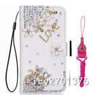 Leather Flip Bling Diamond Wallet Case Girl Cover For ZTE Cubot Phone & straps
