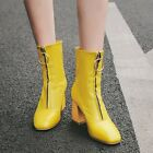 Womens Fashion Leather Metal Decor Round Toe Block Mid Heels Party Ankle Boots